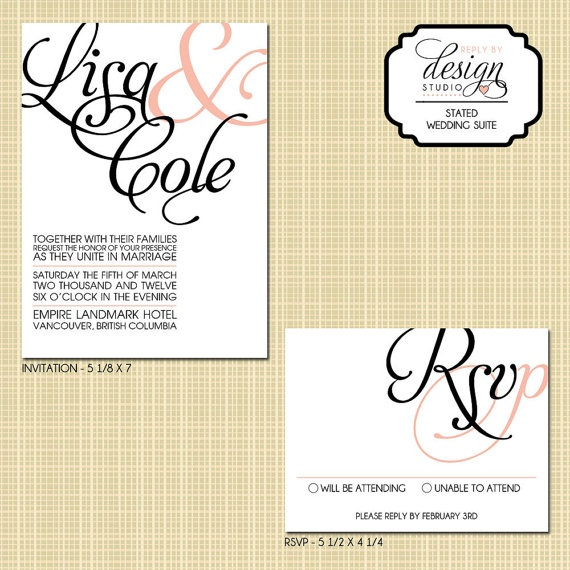 Wedding Invitation and RSVP Card (Stated) Digital File