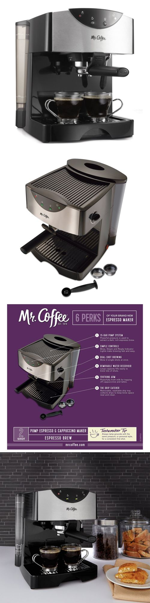 Small Kitchen Appliances: New Mr Coffee Steam Espresso Machine Hot Cappuccino Latte Froth Maker Cafe -> BUY IT NOW ONLY: $75 on eBay!