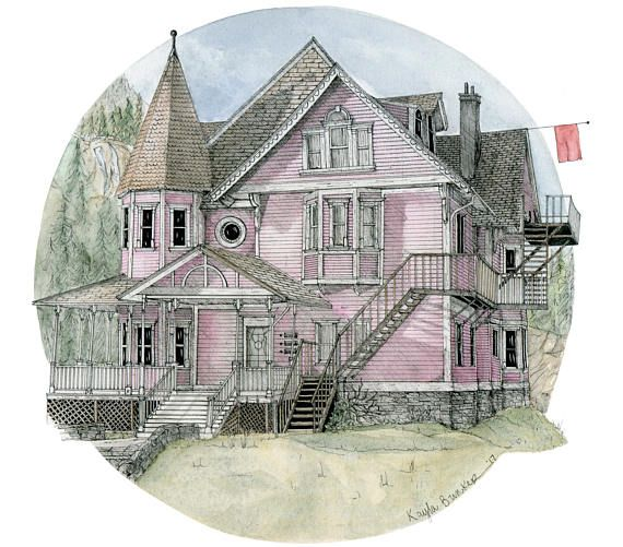 Coraline House The Pink Palace Print Etsy Coraline Pink Palace Coraline Tattoo