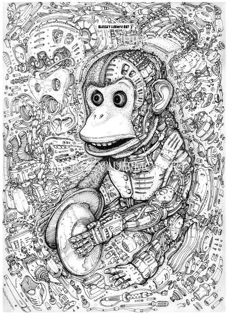 #jollychimp #monkeywithcymbals/Author Aleksey Lubimov. #alekseylubimov_art #алексейлюбимовбиомеханика #алексейлюбимов #стимпанк #дизельпанк #биомеханика #marchofrobots #steampunk #dieselpunk #biomechanical #lineart #engine #motor #inktober2018 #technodoodling
