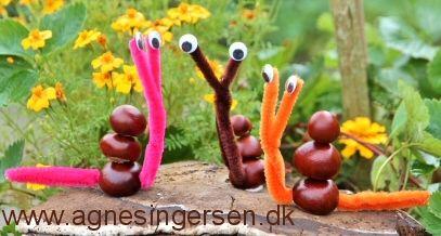 Endnu en en flok snegle er landet på bloggen. Tag godt imod dem. her er vejledningen til sneglene: http://agnesingersen.dk/blog/snegl15 Easy kids crafts chestnut - Kinderbastelideen Kastanien