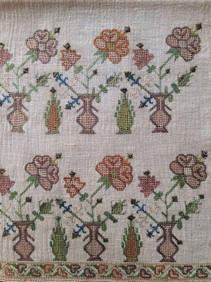 19th C Antique Ottoman Turkish Hand Embroidery on Linen 'Sash'' | eBay