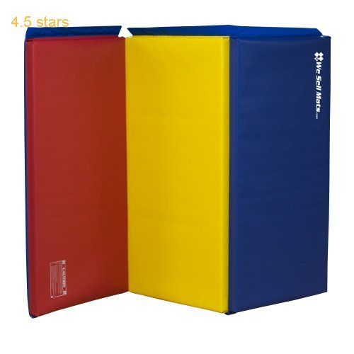 We Sell Mats Rainbow 2-Inch Thick 4-Feet by 6-Feet Gymnastics Tumbling Exercise Folding Martial Arts Mats with Hook and Loop Fasteners on 4 Side Crosslink PE Foam Core