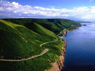 The lovely scenic Cabot Trail in Nova Scotia.