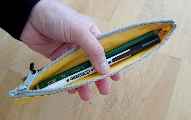 Pen case slim (bi-colour: Yellow x Gray) - made from Japanese WASHI paper - light yet strong - highly water-resistant and not easily torn