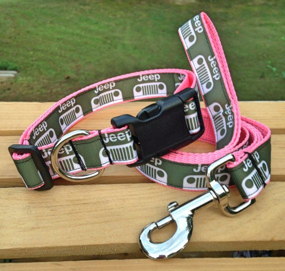 JEEP army green ribbon on pink webbing by FurBabiesPupBoutique