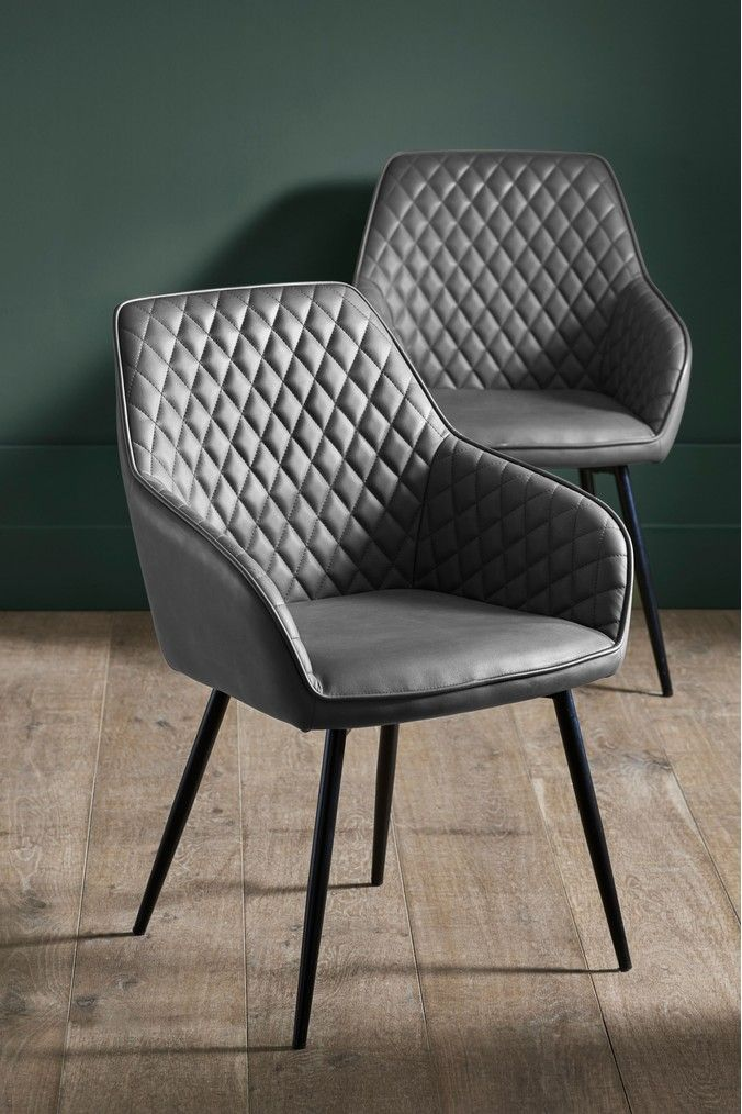 Next Set Of 2 Hamilton Chairs With Arms Grey Leather Dining Chairs Dining Chairs Fabric Dining Chairs