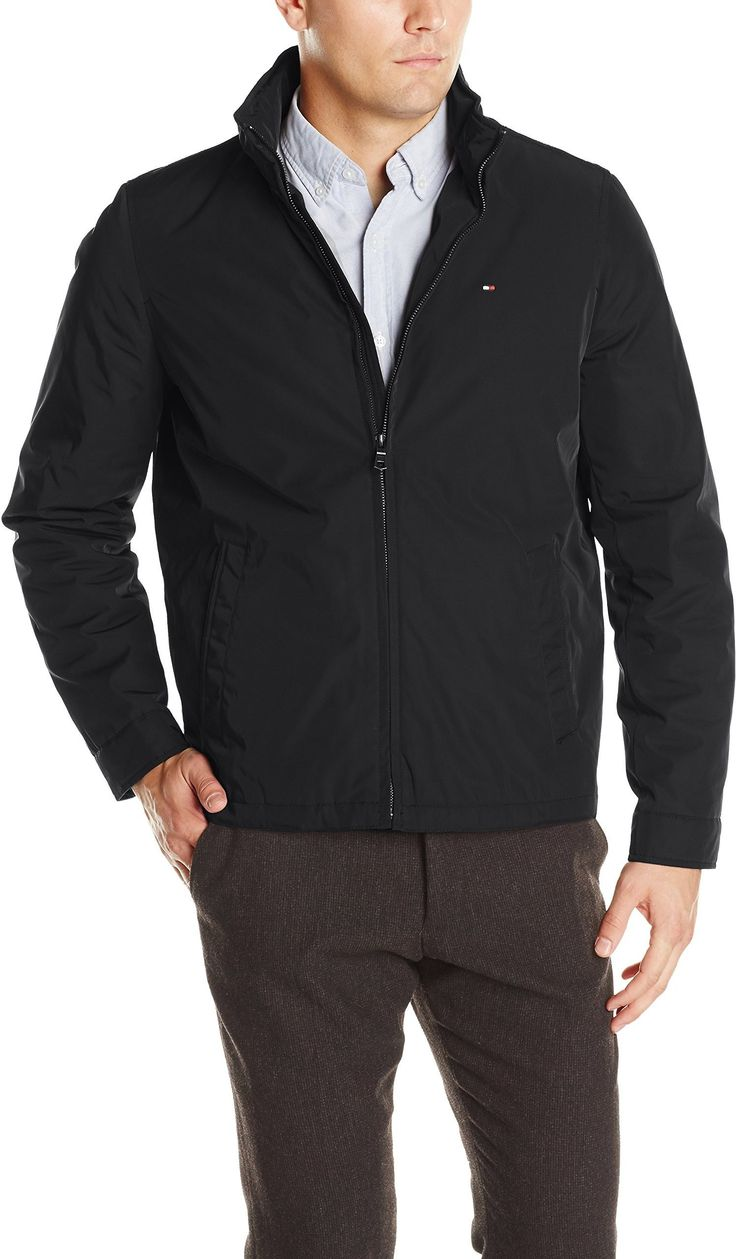 Tommy Hilfiger Men's Poly-Twill Stand-Collar Zip-Front Jacket