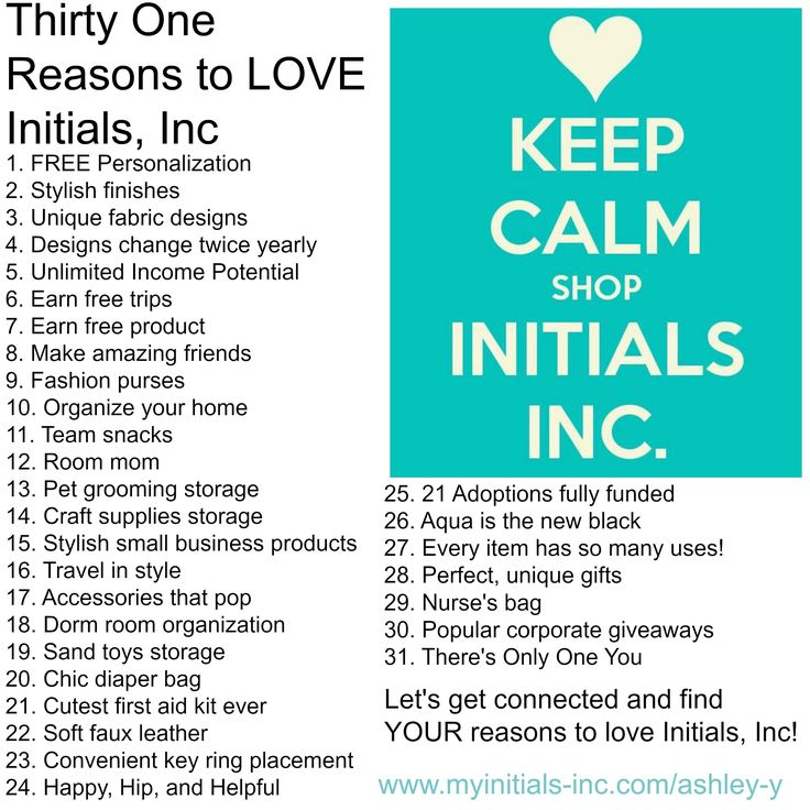 Thirty One Reasons to Love Initials, Inc! www.myinitials-inc.com/ashley-y