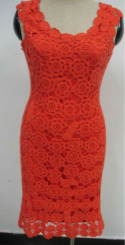 Hoss intropia lace crochet dress red