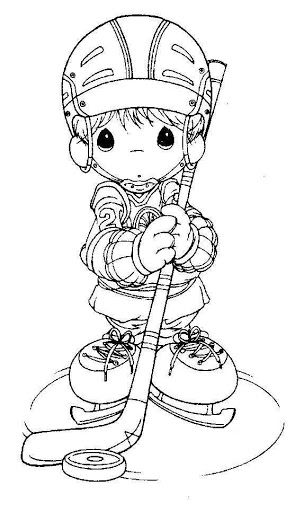 Hockey player – precious moments coloring pages