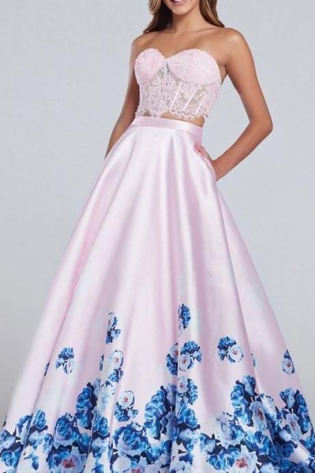 2485830fe619 Two Piece ,A-Line,sleeveless, Corset Ball Gown,Ball Gown ,2018 Evening  Dresses ,Prom Gowns