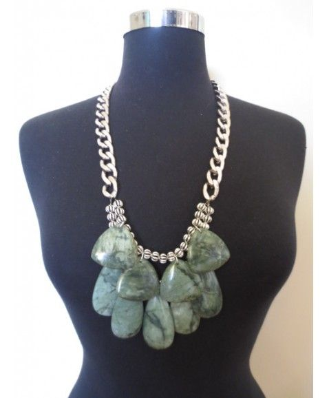 CANADA JADE NECKLACE  Chunky Antique silver chain with Canadian Jade semi-precious stones featuring, the Canada Jade necklace is a perfect focal point to any day-time casual outfit Designed and handmade in WA Only 5 created Materials include plated brass and Canadian Jade stones Please store flat as this style is heavy
