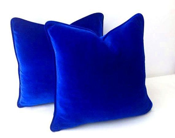 """Royal Blue Throw Velvet #Pillow Cover 20"""" by 20"""" , Cobalt Blue #Cushion Cover, Free Shipping"""
