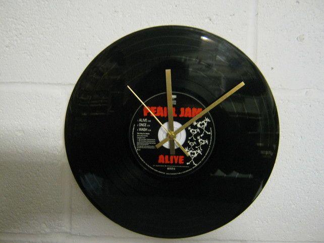 "Pearl Jam -  ""Alive"" 12"" CD & Vinyl Record Wall Clock £19.99"
