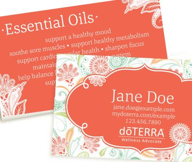 Paisley Dream (Coral) doterra business card
