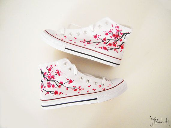 Japanese hand painted shoes / Sakura shoes / Cherry blossom