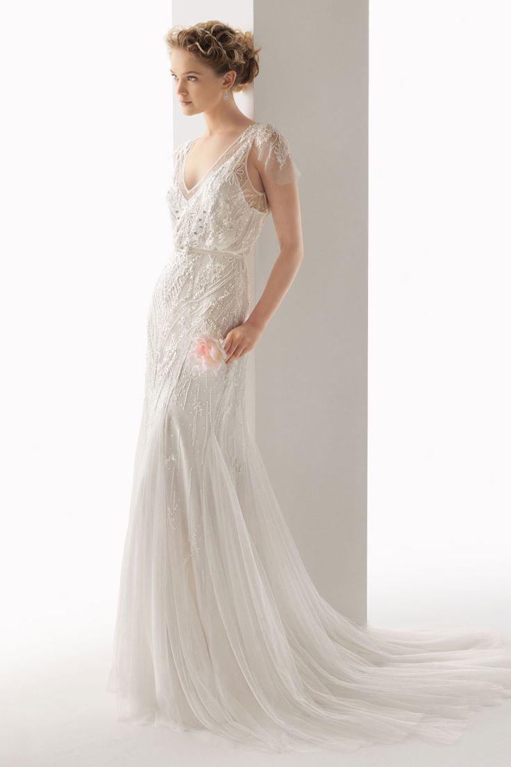 keyhole back tulle empire a-line v-neck brush train wedding dress