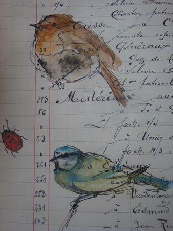 beautiful birds on ledger . Art journal