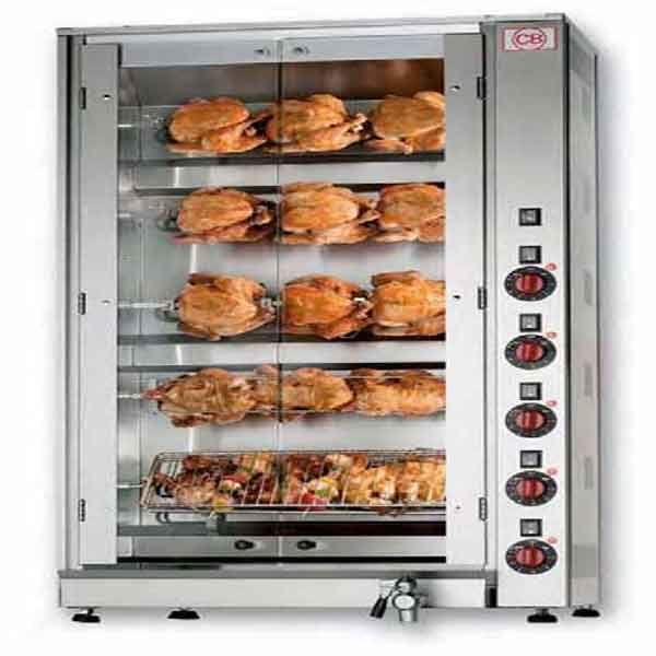 Κοτοπουλιέρα ηλεκτρική Ιταλίας με 5 αυτόνομες σούβλες. Η κοτοπουλιέρα είναι ανοξείδωτης κατασκευής ιδανική για ψητοπωλεία.
