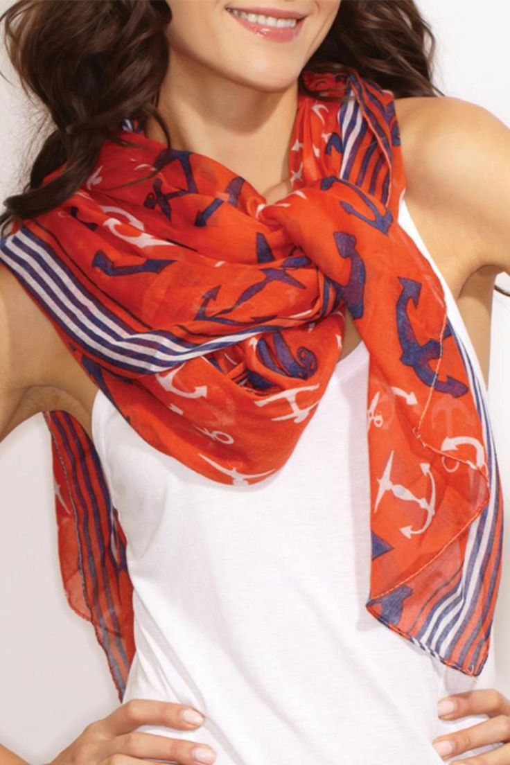 """Cute accessory for any occasion! Red, white and navy anchor scarf.    Scarf measures approximately 41"""" x 71""""   Red Anchor Scarf by 2 Chic. Accessories - Scarves & Wraps Kentucky"""