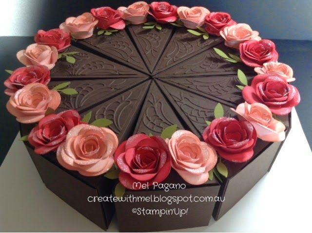 Paper Cake Box; SU - Petal Cone Die, Spiral Flower Die' Boxes - http://createwithmel.blogspot.com.au