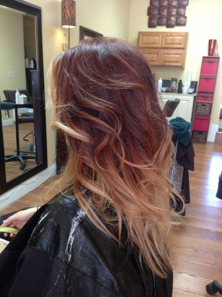 Red blonde ombré - this is what ombré hair is supposed to look like!! Blended, beautiful colors - I love getting compliments on my hair :) Salon VIP in Batavia ny :)