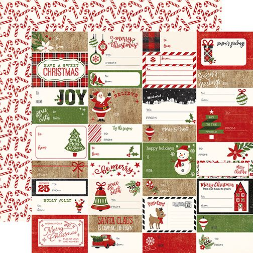 Echo Park A Perfect Christmas 12x12 Paper: Gift Tags