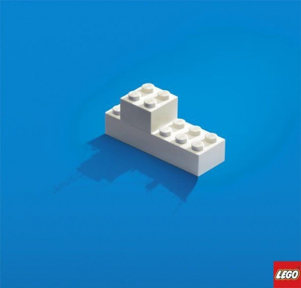 Clever Advertisement Designs. This is another simple, but effective ad. This time the while logo is supposed to be a large ship. I think the white Lego matches the white in the Lego logo on purpose. Ads don't always have to be complicated to make sense.