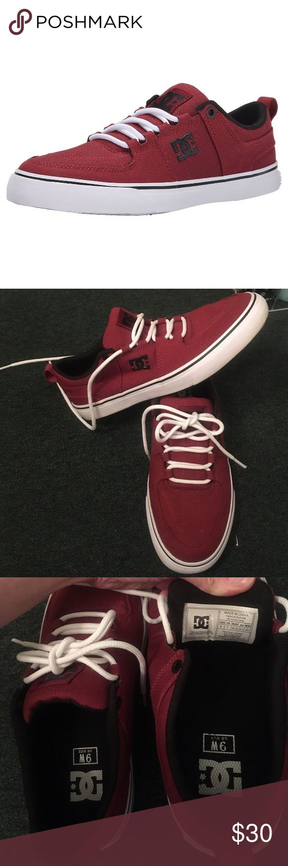 Women's DC shoes Women's Lynx Vulc TX skate shoe. Maroon and black with white soul and laces. These are a 9 WIDE. Worn once, and no signs of wear.  Price FIRM. Bundle to save. No trades, please!  DC Shoes Sneakers
