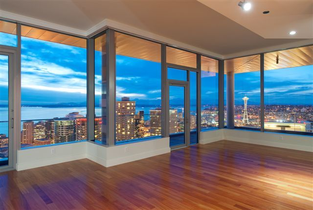 Seattle Penthouse.  This would be an awesome view to wake up to.