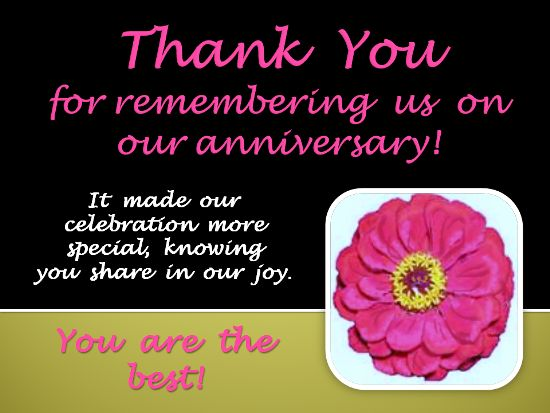 A Thank You Ecard To Send To Someone For Remembering Your Anniversary See All My