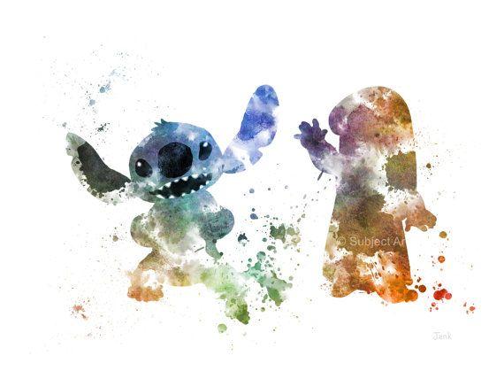 Illustration de lilo et Stitch ART PRINT, Disney, sticker, décoration, pépinière