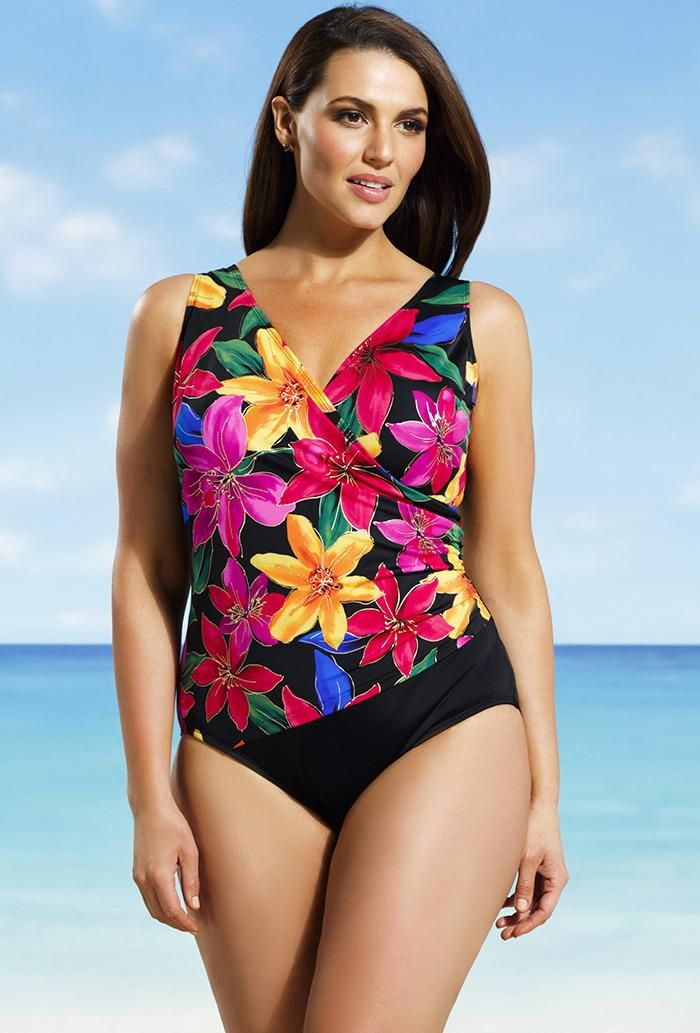 f86a1289a4c4e #xmas #Christmas #SwimsuitsForAll - #Longitude Longitude Delilah Side  Shirred Surplice Swimsuit - AdoreWe.com