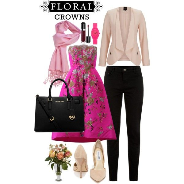 flower playdate by lelymareta on Polyvore featuring Oscar de la Renta, Steve Madden, Michael Kors, Nixon, SELECTED and Nearly Natural
