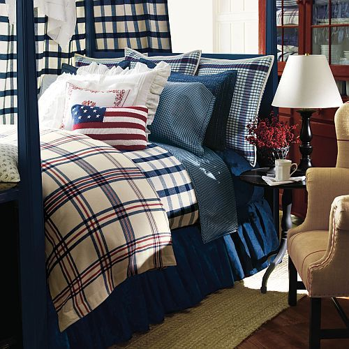 Ralph Lauren Talmadge Hill   I Have The Lamp In Natural Finish And The  Indigo And. Americana BedroomPlaid ...