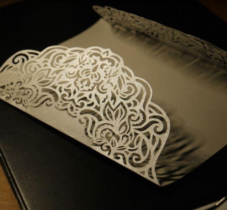 Gold lace Laser cut wedding invitation template