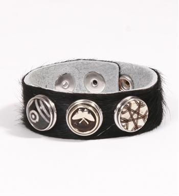 Noosa Amsterdam armband van natuurlijke, soepele cowhide. Zwart - NummerZestien.eu