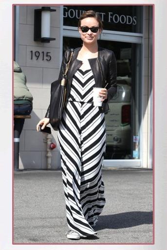 Buy it: Olivia Wilde's Black and White Chevron Maxi Dress and Black Tassel Bag
