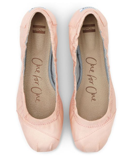 Petal Grosgrain Ballet Flat || I've never been a big fan of Toms but these are stellar. They look like point shoes!