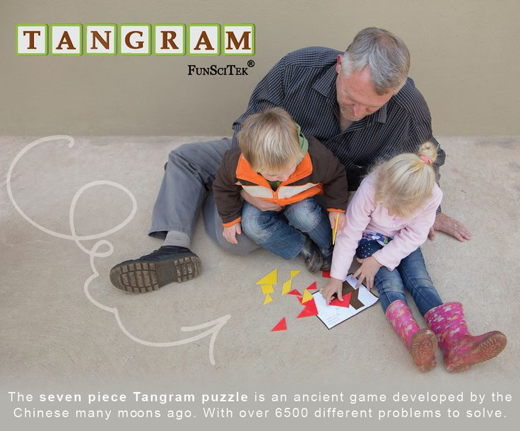 Tangram is 7 Basic geometric shapes, all cut from a single square.  Using Tangrams is one of the primary recommendations to improve the mathematical and thinking skills of the children. It's designed to develop problem solving, logical thinking and fine-motor skills. Tangram offers endless play and creativity possibilities.  Fun for all ages, 3-99.