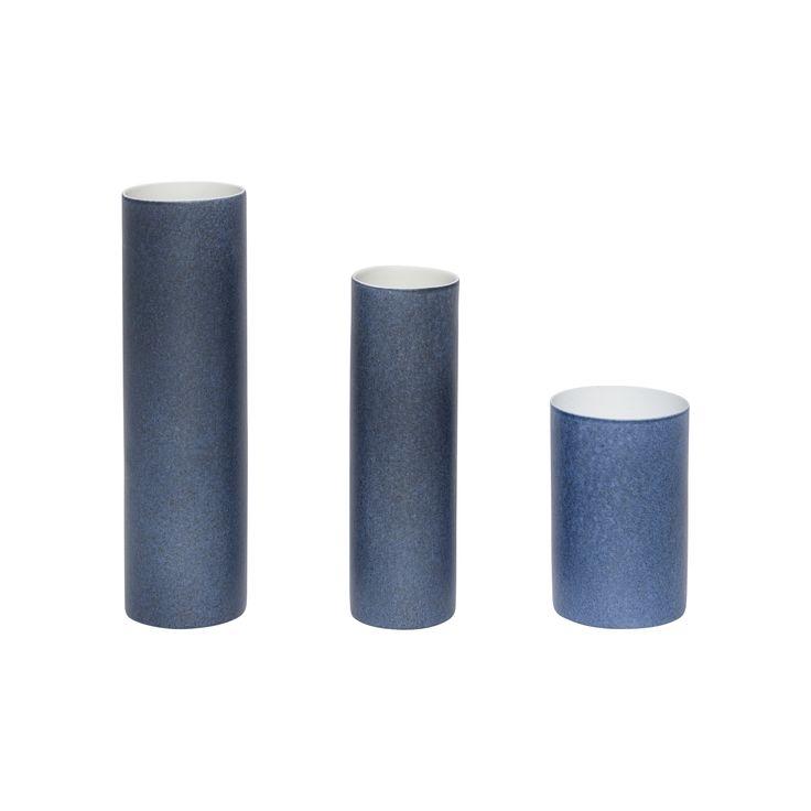 Blue porcelain vases in a set of 3. Product number: 420301 - Designed by Hübsch