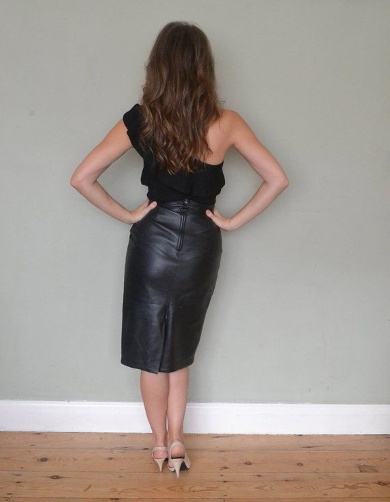 5fe648382497 Vintage Butter Soft Black Napa Leather 50's 80's High Waist Pencil Skirt  Size 8/Small in 2019 | Costumes | Leather, Black leather pencil skirt, ...