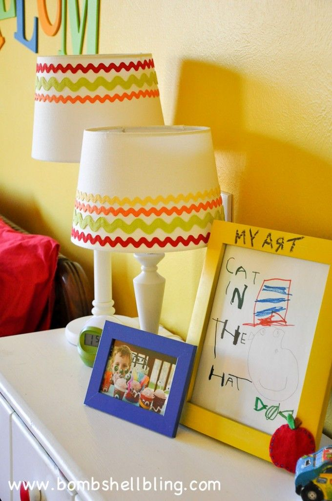 Add ric rac to lampshades for a kid's room!  Brilliant and so simple!!