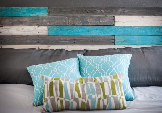 Wooden Headboard with Turquoise Accents by BreakingandRemaking