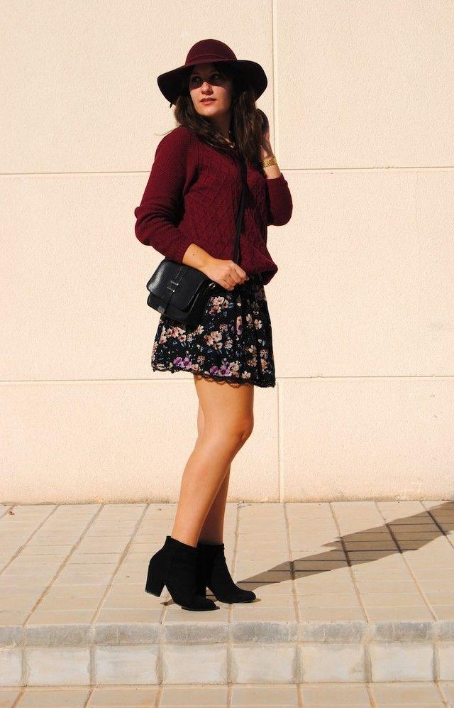 brillante en brillo nuevo alto mayor descuento Natalia Calviño - Burgundy - Sombrero H&m - Jersey ...