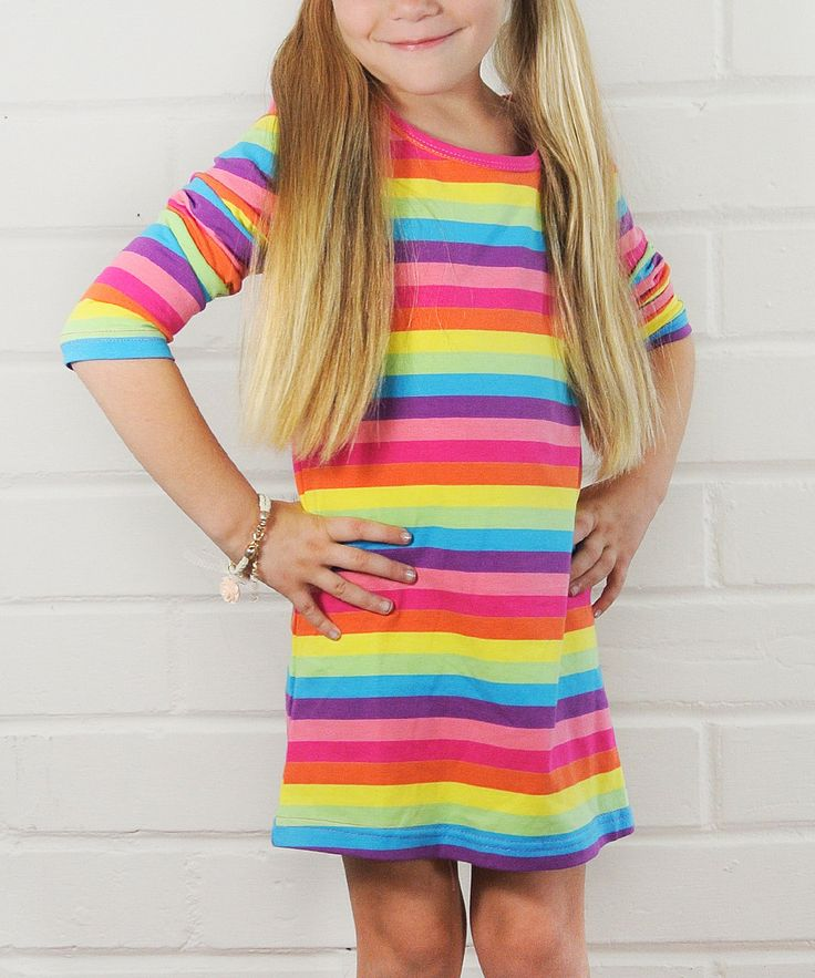 Take a look at this Rainbow Stripe Dress - Toddler & Girls on zulily today!