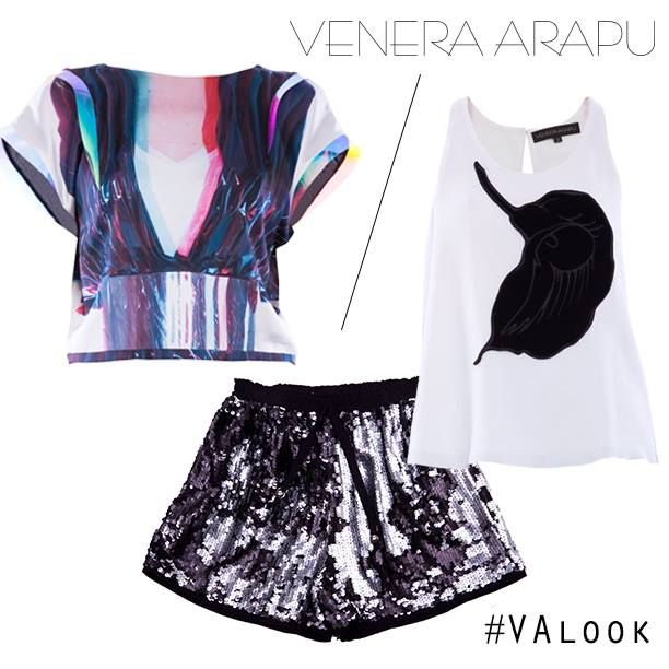 Sequin shorts are so stylish right now. If you don't know how to pair them, choose our 3-D printed silk blouse or the black and white top with open back to complete the look.   Shop: http://shop.venera-arapu.com/