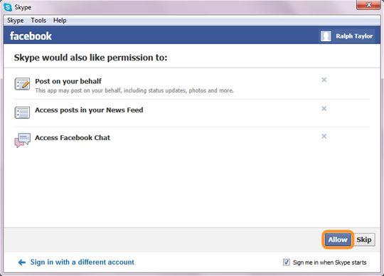 Параметр ''Разрешить'', выбранный для настройки доступа Skype к некоторым функциям Facebook