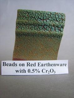 Beads Base Glaze cone 05 Gerstley Borate33.3 Silica6.7 Magnesium Carbonate33.3 Borax26.7 100 Zircopax6.7   Added 0.5% Chrome oxide